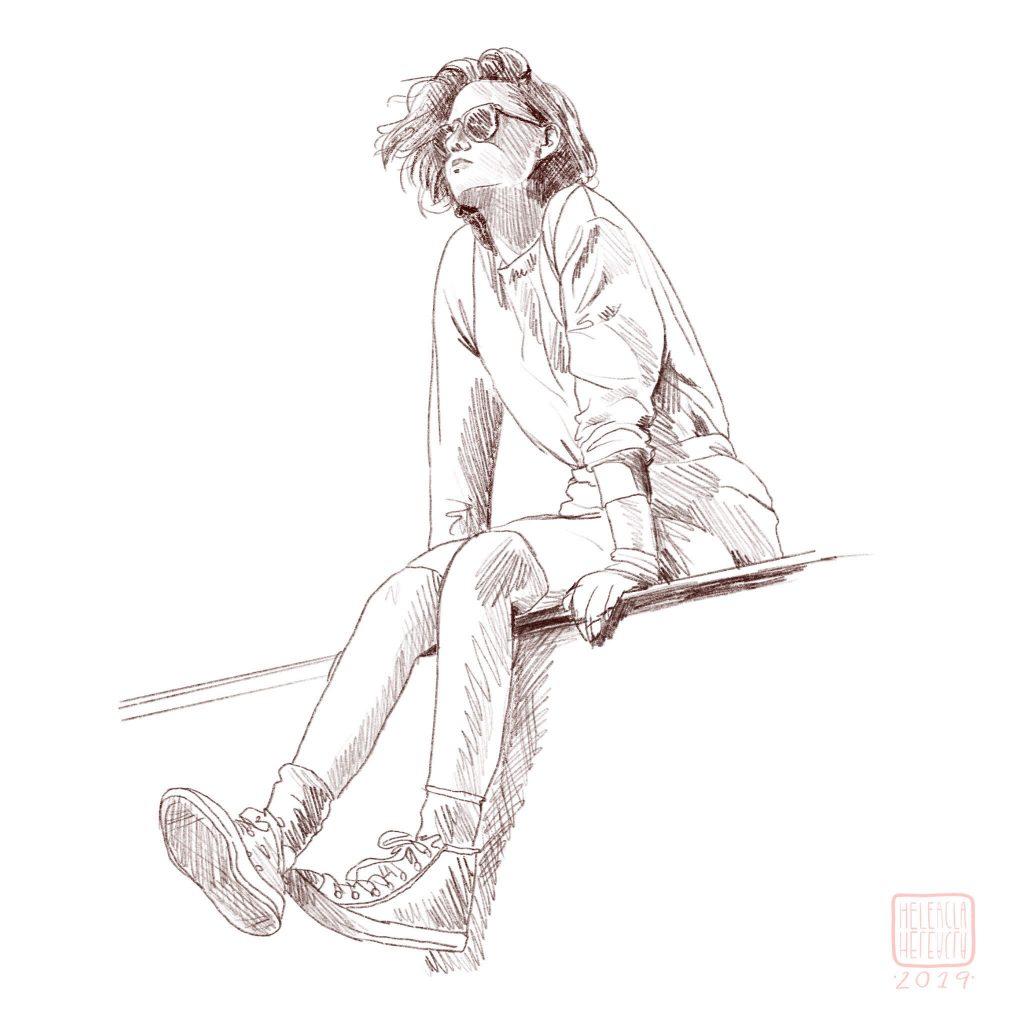 boceto chica pintura digital
